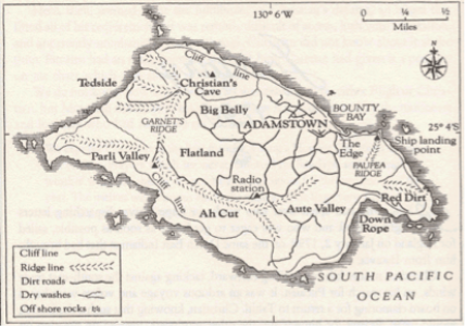 Handdrawn map of Pitcairn Island