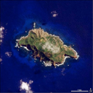 Arial photo of Pitcairn Island